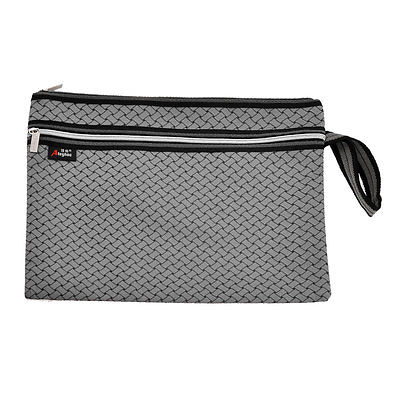 Man Compact Braid Printed Two Sections Zip Up Gray File Pocket Folder Bag
