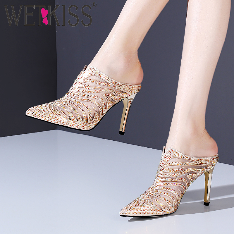 WETKISS Crystal Mesh Slippers Women Summer Slides Shoes Thin High Heels Mules Shoes Female Fashion Party Shoes Ladies 2019 New