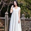 Твердые Рукавов V-образным Вырезом Белье Женщины Платье Свободные Повседневная Midi Длинные Летние Платья Белье Белый Черный Старинные Платья Vestidos B092