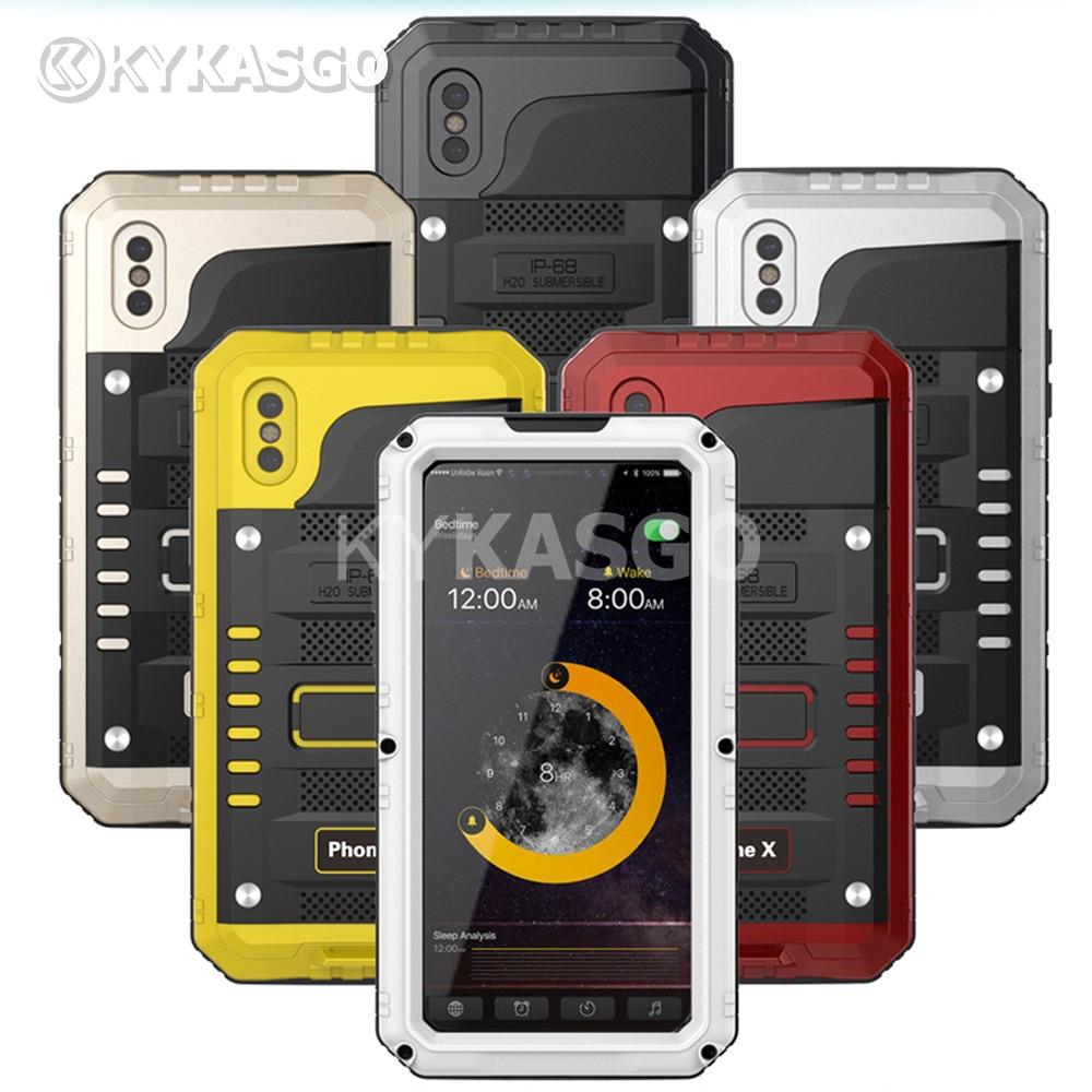 1000 шт. из металла Алюминий Панцири Hybird Водонепроницаемый чехол для iPhone X 8 7 Plus 6 6 S телефон случае анти -стук грязь-доказательство Защитная кры...