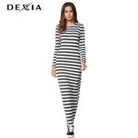 السيدات مخطط طويل تي شيرت اللباس dexia تقع النساء 2018 الخريف الجديدة عارضة سليم جولة عنق طويل الأكمام غمد ماكسي اللباس