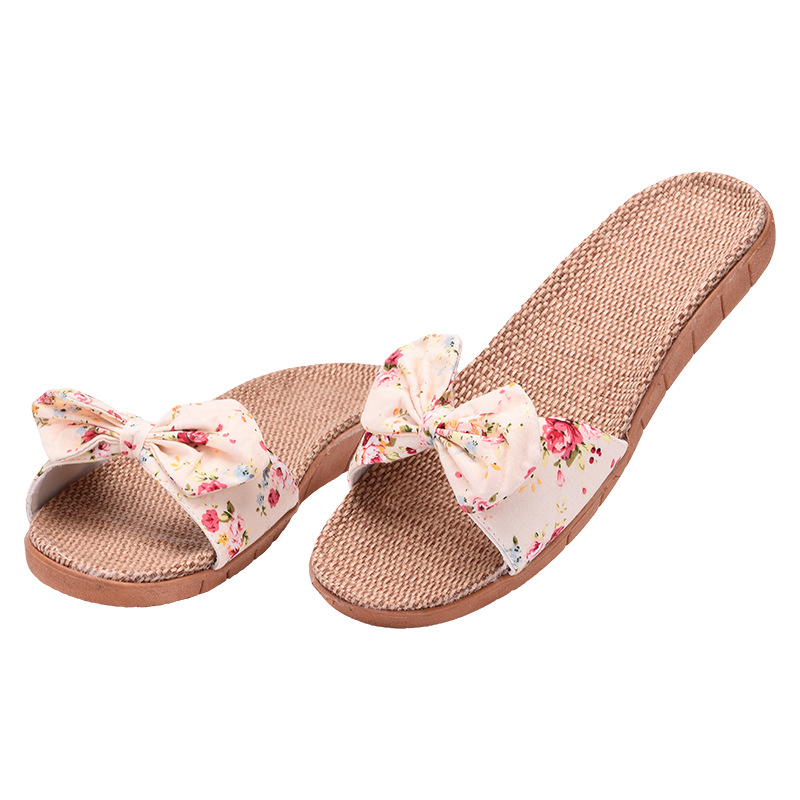 Women Indoor Flax Slippers Bow Knot Breathable Summer Flat Shoes Woman Home Slides Slip On Ladies Bedroom House Floor SlippersWomen Indoor Flax Slippers Bow Knot Breathable Summer Flat Shoes Woman Home Slides Slip On Ladies Bedroom House Floor Slippers