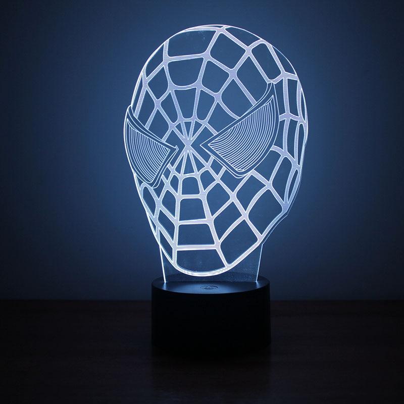 3D Led USB Spider Man Mask Table Desk Lamp Visual Creative Gifts Night Light Baby Bedside Sleeping Nightlight Luminaria Decor