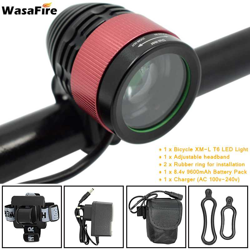 WasaFire 2000lm XM-L T6 LED Focusing Bicycle Light Head Light Bike Light Lamp Front 8.4V 18650 Rechargeable Battery Cycling Gift