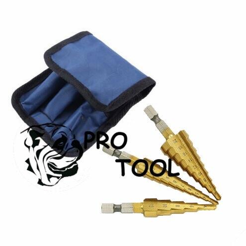 3 pz Hss Acciaio Titanium Step Drill Bit 3-12mm 4-12mm 4-20mm passo Cono Utensili Da Taglio In Acciaio Legno Lavorazione Del Legno Foratura Metallo Set