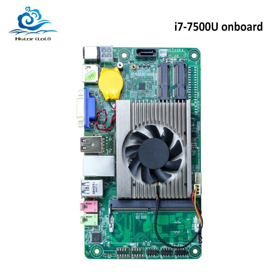 HLY Brand NEW Motherboard Mini All-in-one i7 onboard 7500U DDR3 HDMI VGA USB Mini ITX mSATA SATA Mini PCI-E Mainboard