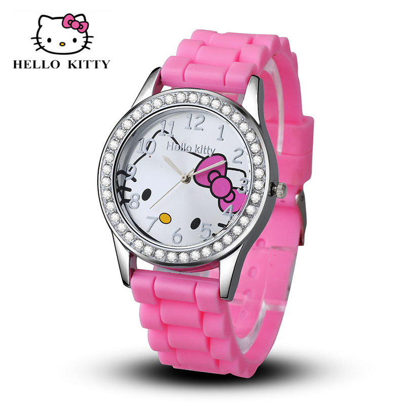 New Arrived hello kitty cartoon watches silicone girls kids quartz wristwatch women child mujer watches hot sale fashion relojes new arrived hello kitty cartoon watches pu leather girls kids quartz watch student watch mujer relojes rhinestone children clock