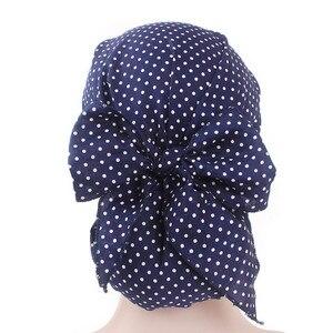 Image 5 - イスラム教徒の女性弾性プリントコットンターバン帽子スカーフ事前縛らがん化学ビーニー帽子ヘッドラップメッキヘアアクセサリー