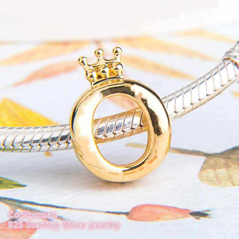Jesień 100% 925 srebro logo marki korona O, żółte kolorowe koraliki Fit oryginalny Pandora Charms bransoletka tworzenia biżuterii