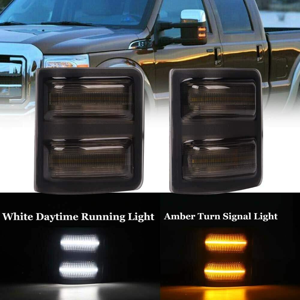 Pour 08-16 Ford F250 F350 F450 lentille fumée ambre/blanc LED rétroviseurs latéraux