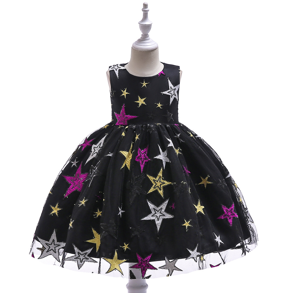 Elegant Girl Star Embroidered Dress Sequin Sleeveless Cute Girl Wedding and Christmas Princess Dress Baby Girl Clothes vestido худи print bar sum41