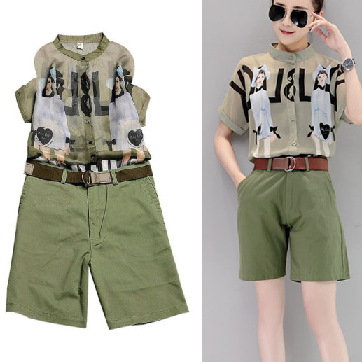 With Belt! 3 Pieces Women Summer Army Green Vintage Print Loose Tops Blouses And Harem Short Pants Suit Clothing Set NS394