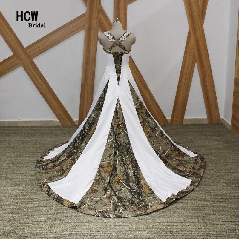 Camouflage Trouwjurk Strapless Applicaties Gepareld Satijn Prinses - Trouwjurken - Foto 3