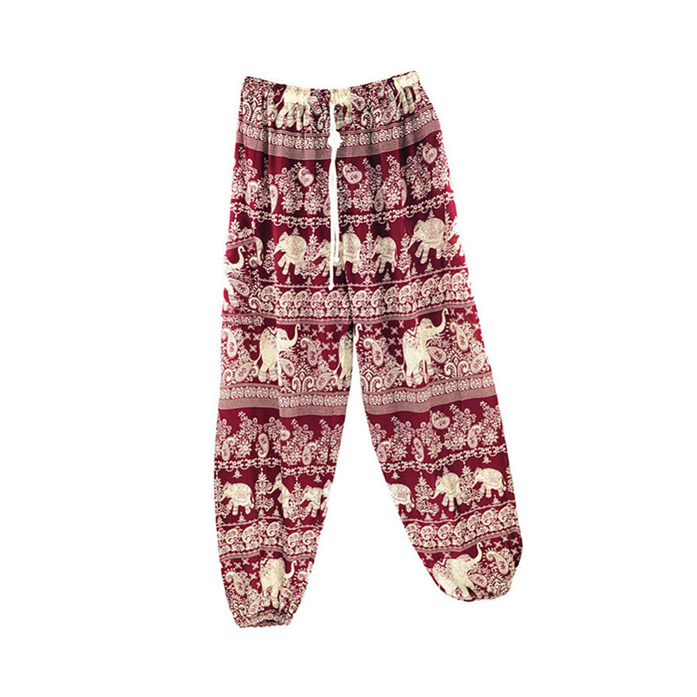 2017 Women Yoga Running Pants Free Size Thai Elephant 2 Series Bloomers Thai Elephant Pattern With Trouser String Hot