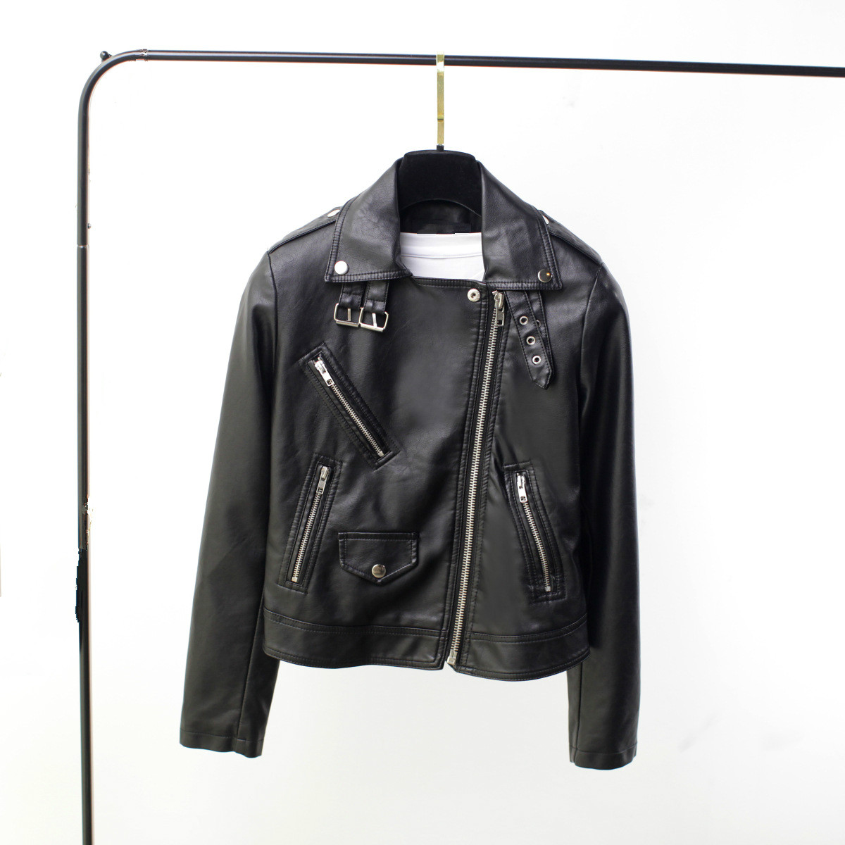 Spring Women Lapel PU Black Motorcycle Jacket Girls Short Moto Biker Jacket Streetwear Faux   Leather   Long Sleeve Slim Female Coat