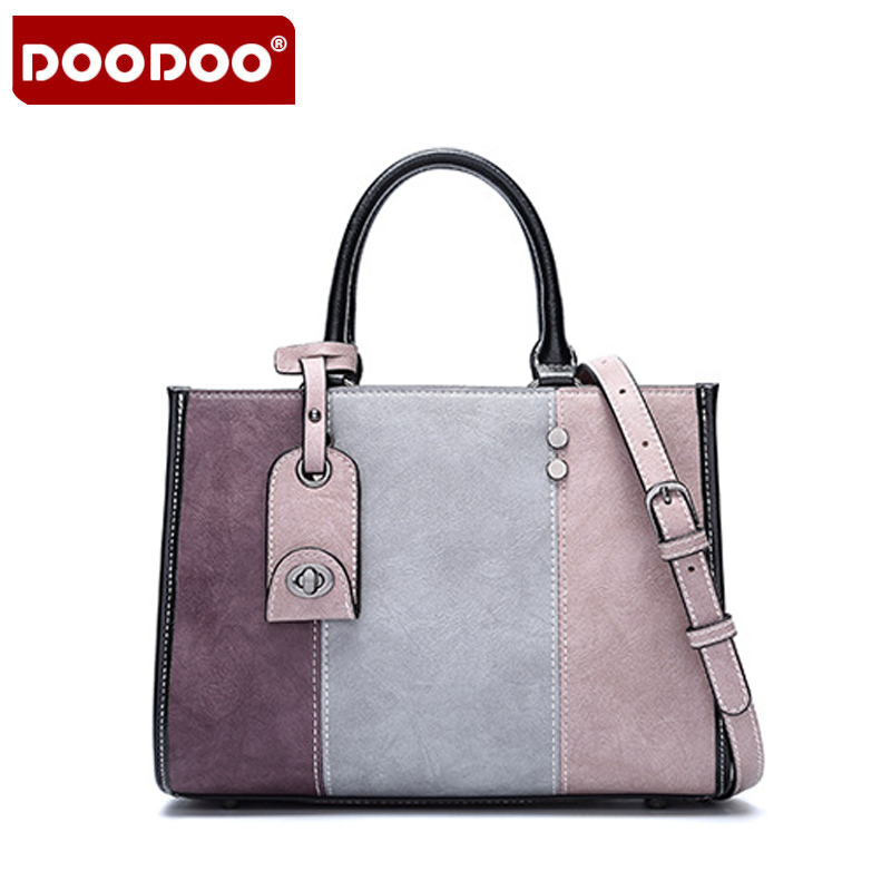 DOODOO Female Shoulder Bag PU Leather Women Handbag Fashion Messenger Bag Lntelligent Anti-Lost Crossbody Bags Patchwork B561 women floral leather shoulder bag new 2017 girls clutch shoulder bags women satchel handbag women bolsa messenger bag