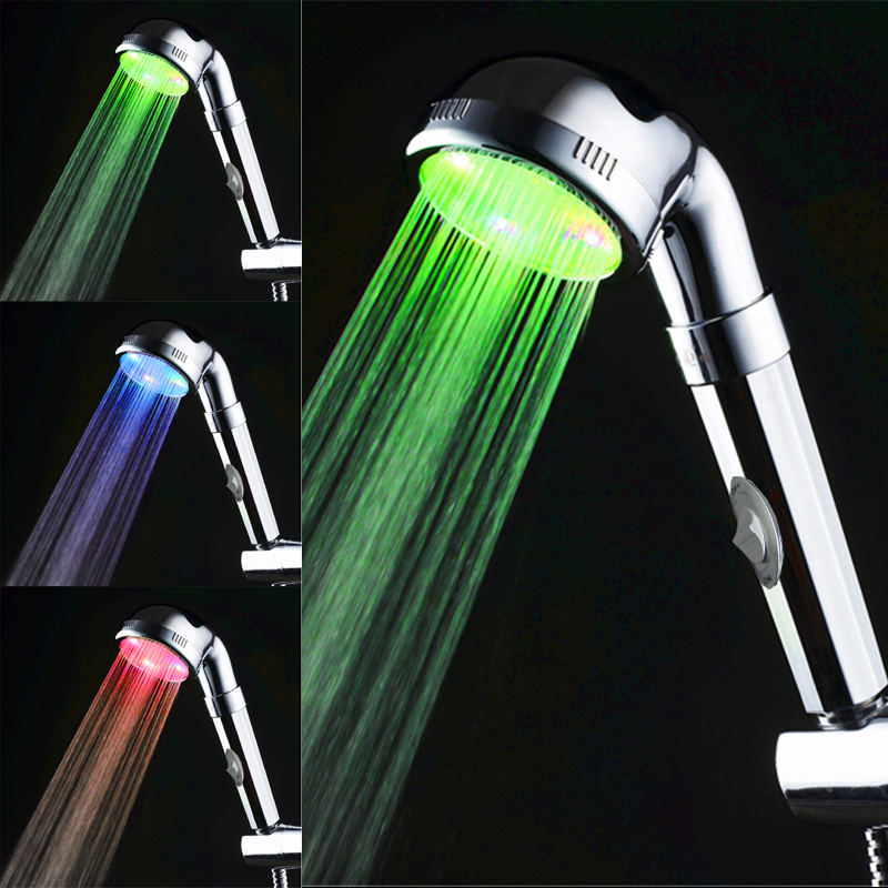 Dependable Sble Water Power Colorful Led Shower Head Handheld Temperature Sensor Light Shower Head No Battery Bathroom Accessories 3 Colors Shower Heads