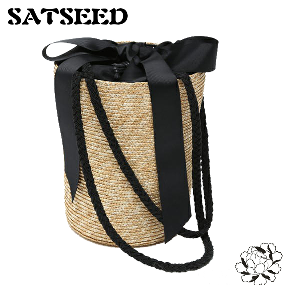 Japan Style Bucket Cylindrical Straw Bags Bow Wheat-straw Woven Women Crossbody Bags Shoulder Tote Bag String various straw sacr