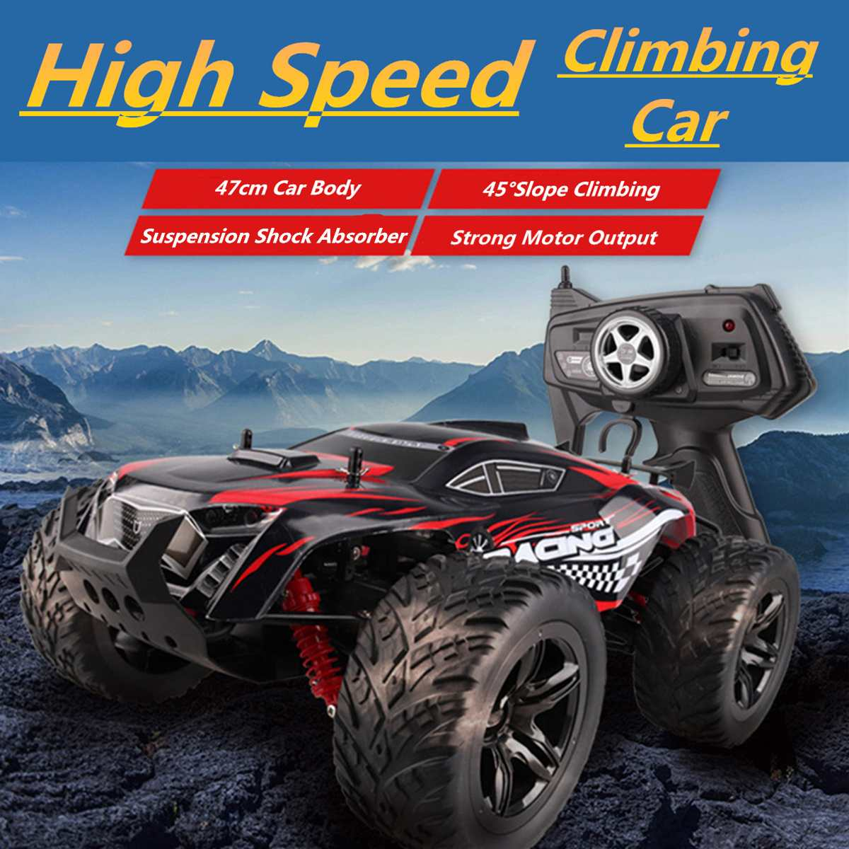 1/10 Climbing RC Car 4WD 2.4GHz High-speed RC Car Rock Rally Double Motors Bigfoot Car Remote Control Model Off-Road Vehicle Toy1/10 Climbing RC Car 4WD 2.4GHz High-speed RC Car Rock Rally Double Motors Bigfoot Car Remote Control Model Off-Road Vehicle Toy