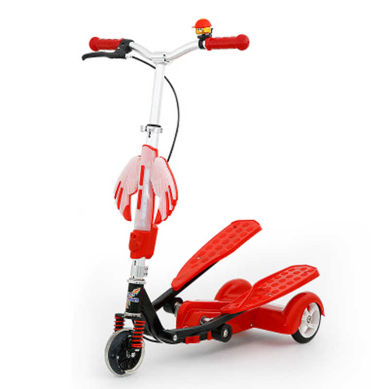 Lipat Anak-anak Scooter dengan 3 Roda Portabel 2 Pedal Skuter Roda Tiga, Gunting Scooter dengan Menyesuaikan Ketinggian, roda Pu Anak Skuter