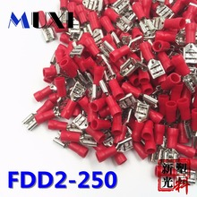 FDD2-250 Female Insulated Electrical Crimp Terminal for 1.5-2.5mm2 Connectors Cable Wire Connector 100PCS/Pack Red цена