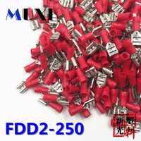 FDD2-250 terminal elétrico isolado fêmea do friso para o conector 1.5-2.5mm2 do fio do cabo dos conectores 100 unidades/pacote vermelho