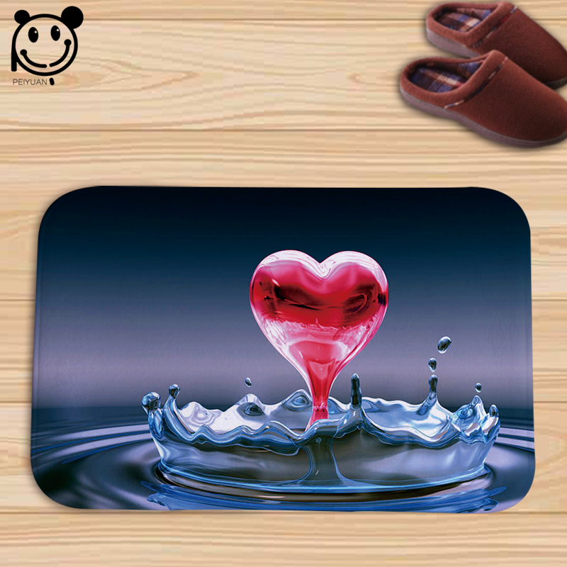 PEIYUAN Doormat Love Warm Mood and Heart Pattern Floor Mat Indoor Rug Carpet Home Decor Valentines Day Gifts Door Mat