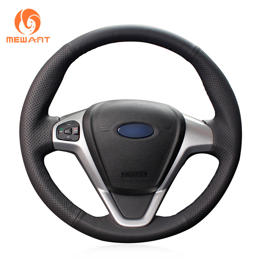 MEWANT Black Artificial Leather Car Steering Wheel Cover for Ford Fiesta 2008-2013 Ecosport 2013-2016 цена