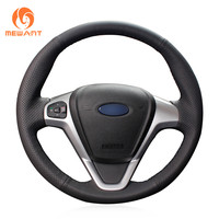 MEWANT Black Artificial Leather Car Steering Wheel Cover for Ford Fiesta 2008 2017 EcoSport 2014 2017