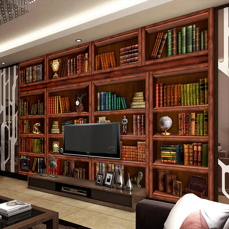 Popular bookshelves living room buy cheap bookshelves for Bookshelf wall mural