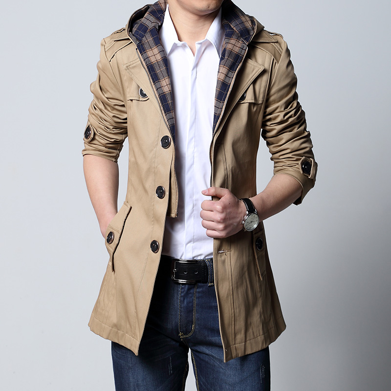 Clothing Long-Coat Men Trench Black Outwear Male Fashion 5XL And Khaki Slim Puls-Size