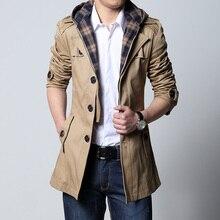 2019 Fashion outwear long coat men trench puls size 5XL male