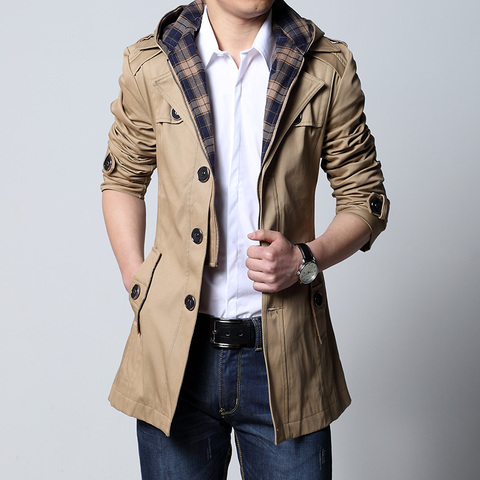 2019 Fashion outwear long coat men trench puls size 5XL male clothing slim fit black and khaki Free shipping Pakistan