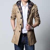 2019 ファッション生き抜くロングコート男性トレンチ puls サイズ 5XL 男性服スリムフィット黒とカーキ送料無料