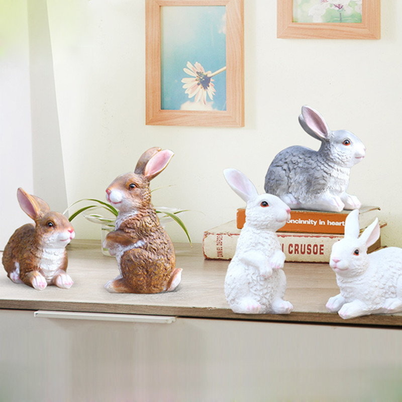 Pastoral style Animal Sculpture Decoration FRP Simulation Rabbit Landscape Garden Courtyard Small