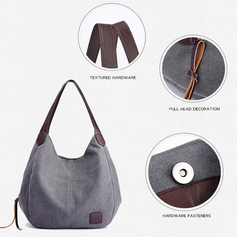 Canvas Handbags Solid Multi-Pocket Ladies Totes  Female Hobos Single Shoulder Bags Vintage