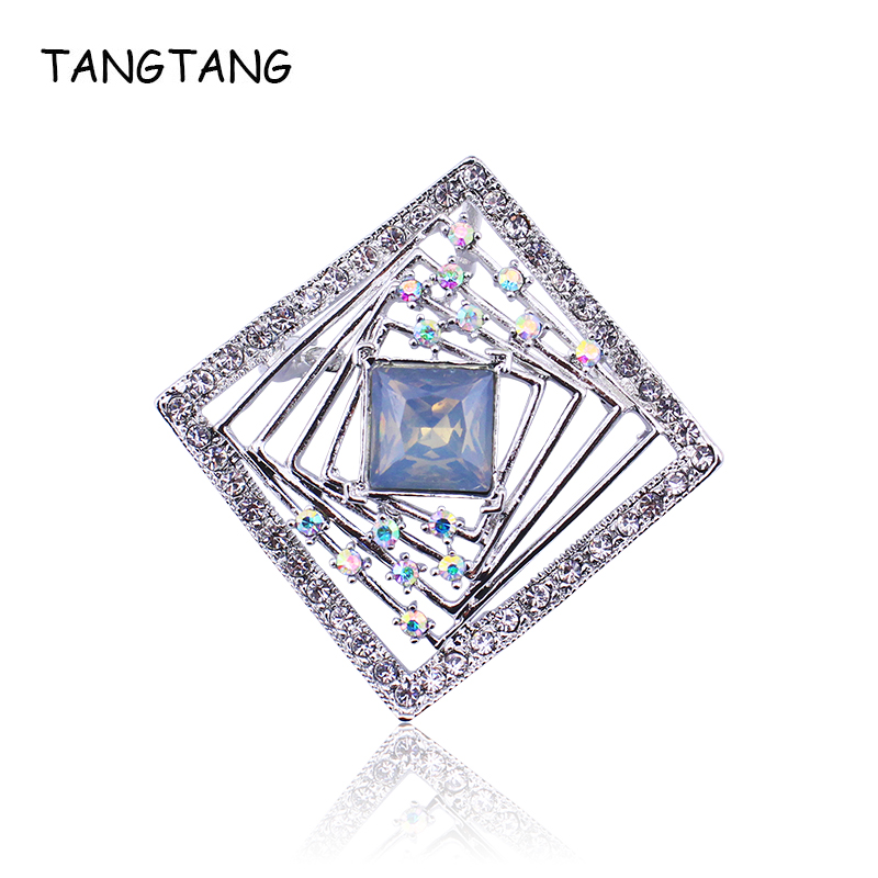 TANGTANG Pin Badges Brooch With Rhinestones Square Brooches Silver Color Crystal Womens Jewellery Metal Charming Brooch Pin Gift