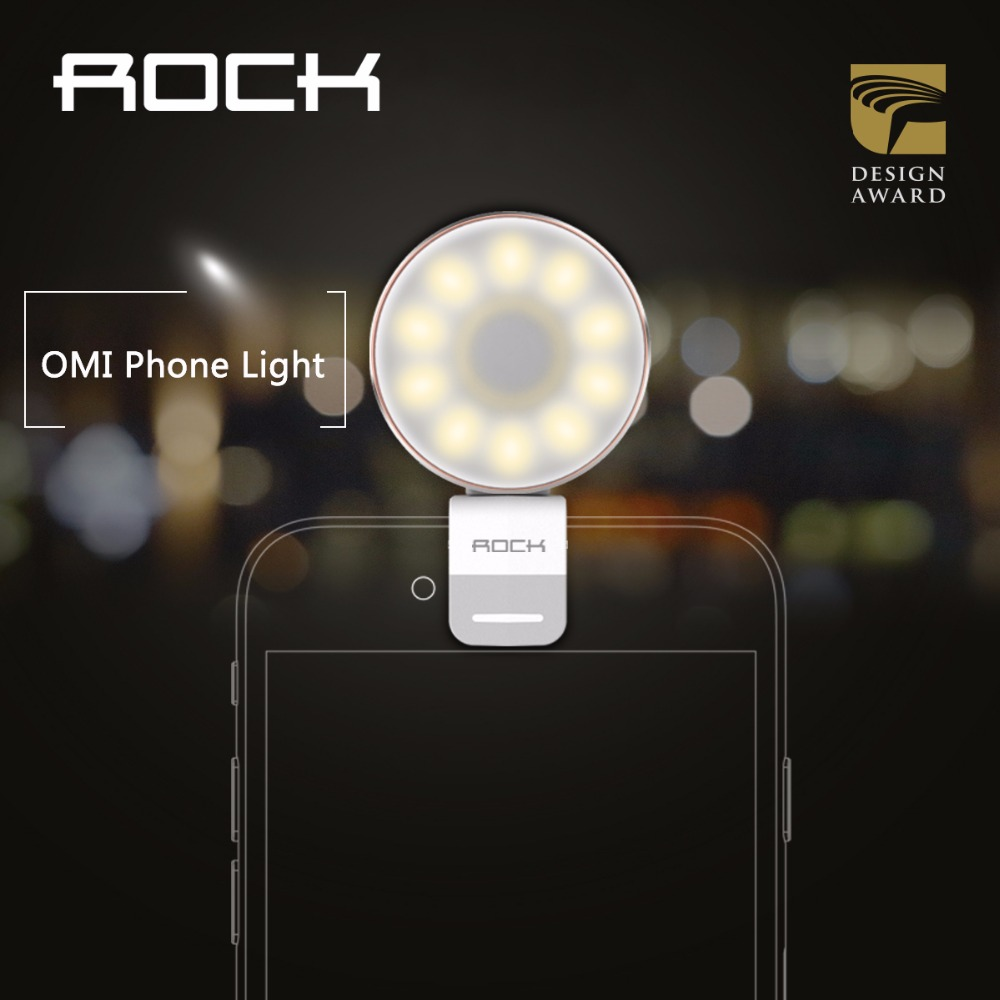 ROCK OMI Phone Light LED light compensating lamp Metal Alloy camera flashlight warm leds lights for