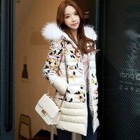 Dabuwawa Белый Цветочный принт теплое пальто с капюшоном зимняя Повседневное женские пуховики брендов плотная верхняя одежда парки