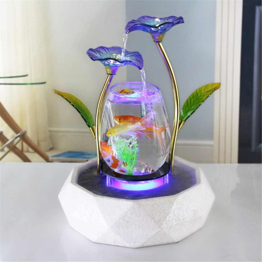 Tabletop Wasser Funktion Lotus Brunnen Wasserfall Kaskade Indoor Dekoration Aquarium Zen Luftbefeuchter Meditation LED licht aquarium