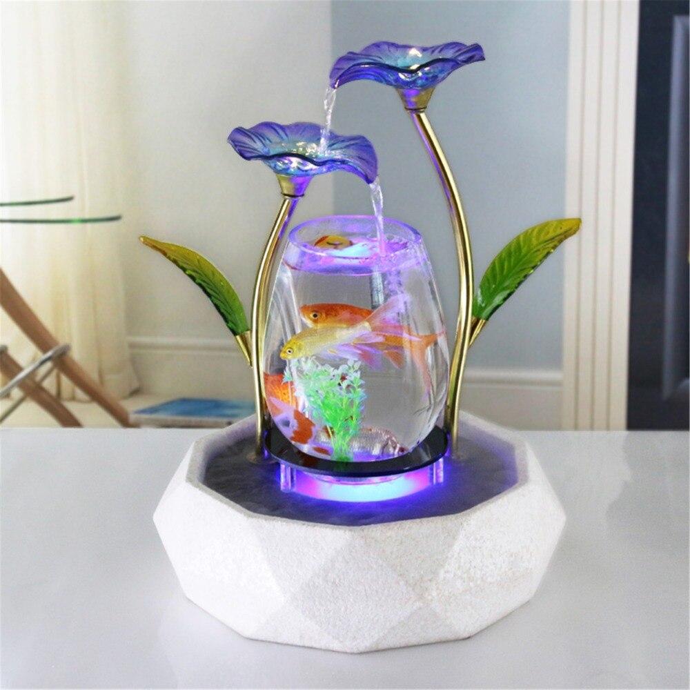 Eau de table caractéristique Lotus fontaine Cascade Cascade décoration d'intérieur Aquarium Zen humidificateur méditation lumière LED Aquarium