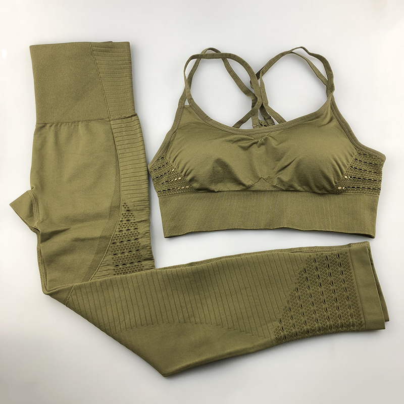 Nahtlose Yoga Set Frauen Fitness Kleidung Sportswear Frau Gym Leggings Padded Push-Up Strappy Sport Bh 2 stücke Sport Anzüge