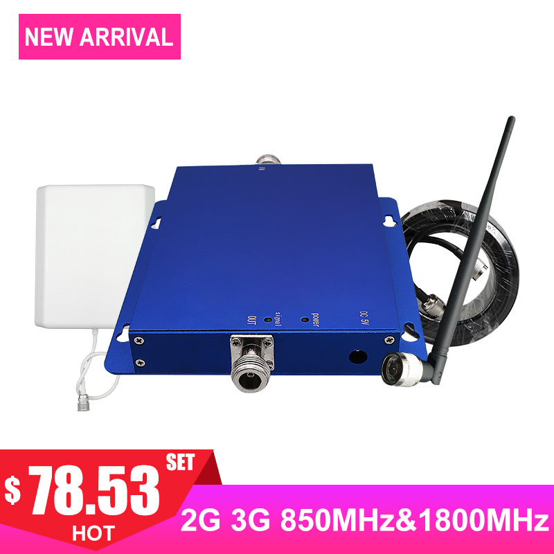 Cellular Cellphone Signal Repeater Dual Band 1800mhz Dcs Mobile Phone Signal Booster Band3 Band5 Network Amplifier Kit Antenna -