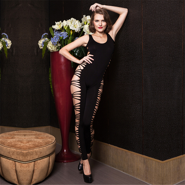 Sexy Teddy Black Floral Lace Open Sides Sleeveless Bodysuit Thong Leotard Women Sexy Hot Bodystockings jumpsuit overalls
