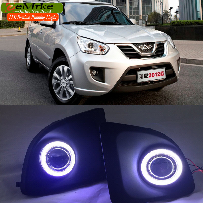 EEMRKE Car Styling For Chery Tiggo FL COB LED Angel Eye DRL H11 55W Halogen Fog Lights Lamp Daytime Running Light eemrke for fiat freemont led angel eye drl daytime running lights halogen h11 55w fog lamp light