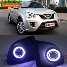 EEMRKE Car Styling For Chery Tiggo FL COB LED Angel Eye DRL H11 55W Halogen Fog Lights Lamp Daytime Running Light