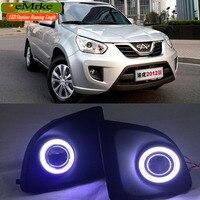 Eemrke стайлинга автомобилей для Chery Tiggo FL COB LED Angel глаз DRL H11 55 Вт галогенные фары противотуманные лампы дневного бег свет