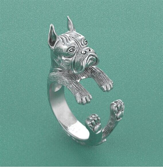 Nouvelle mode Hiphop Style Boho Chic Boxer (recadrée) anneau Pet mignon chien câlin anneau mode noël cadeau bijoux