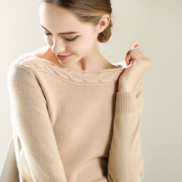 2016 Autumn Winter Soft Warm Cashmere Sweater Women Knitted Twisting Slash neck Full sleeve Fashion High Quality Pullover
