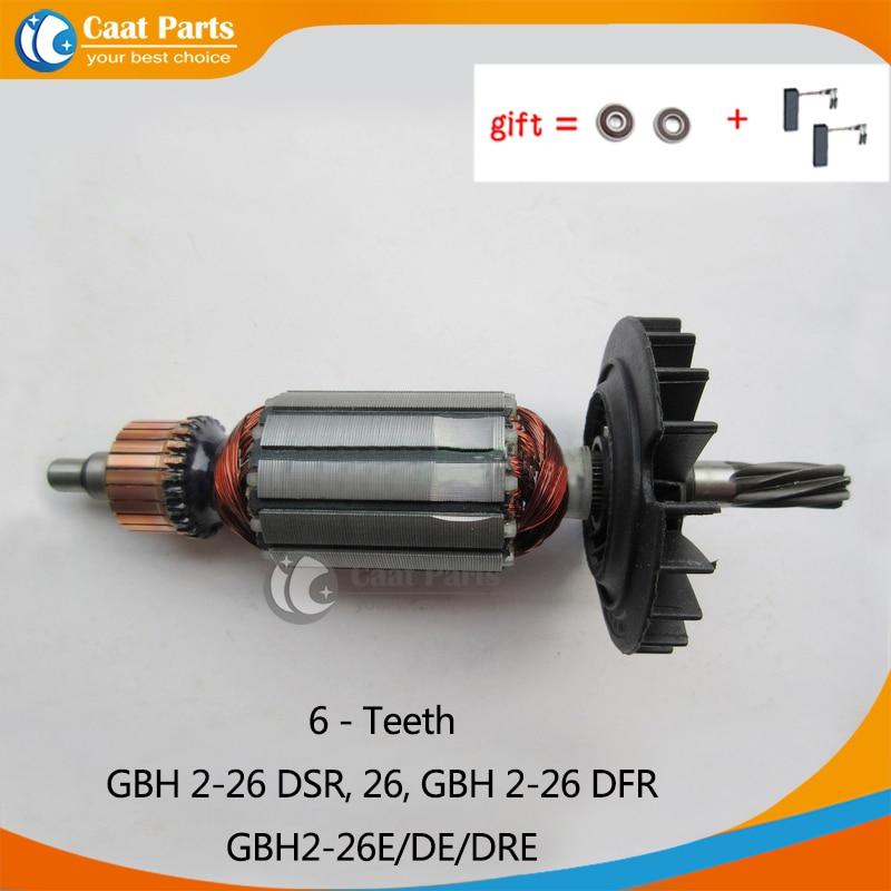 AC220-240V 6 Teeth Armature Rotor Anchor Motor For Bosch GBH2-26 GBH2-26DSR GBH2-26DFR GBH2-26E GBH2-26DE GBH2-26DRE